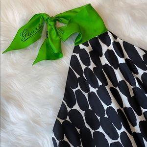 Gucci Monochrome Polka Dot Print Silk Halter Top
